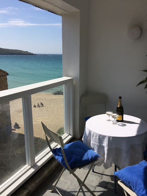 Drinks on the balcony overlooking Porthmeor Beach