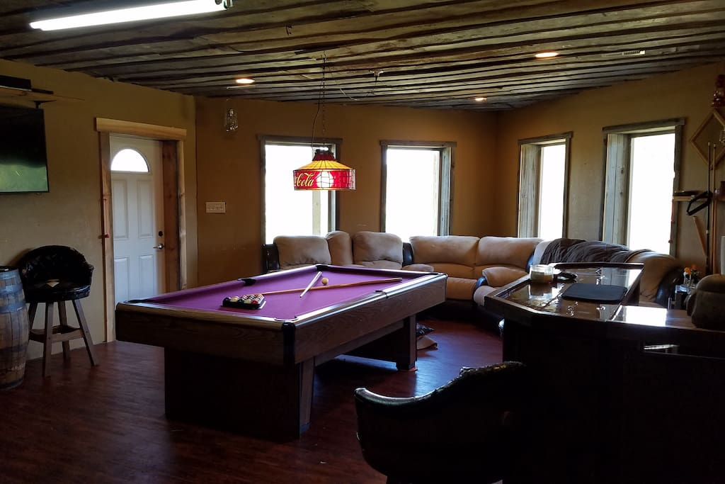 Game room in basement.