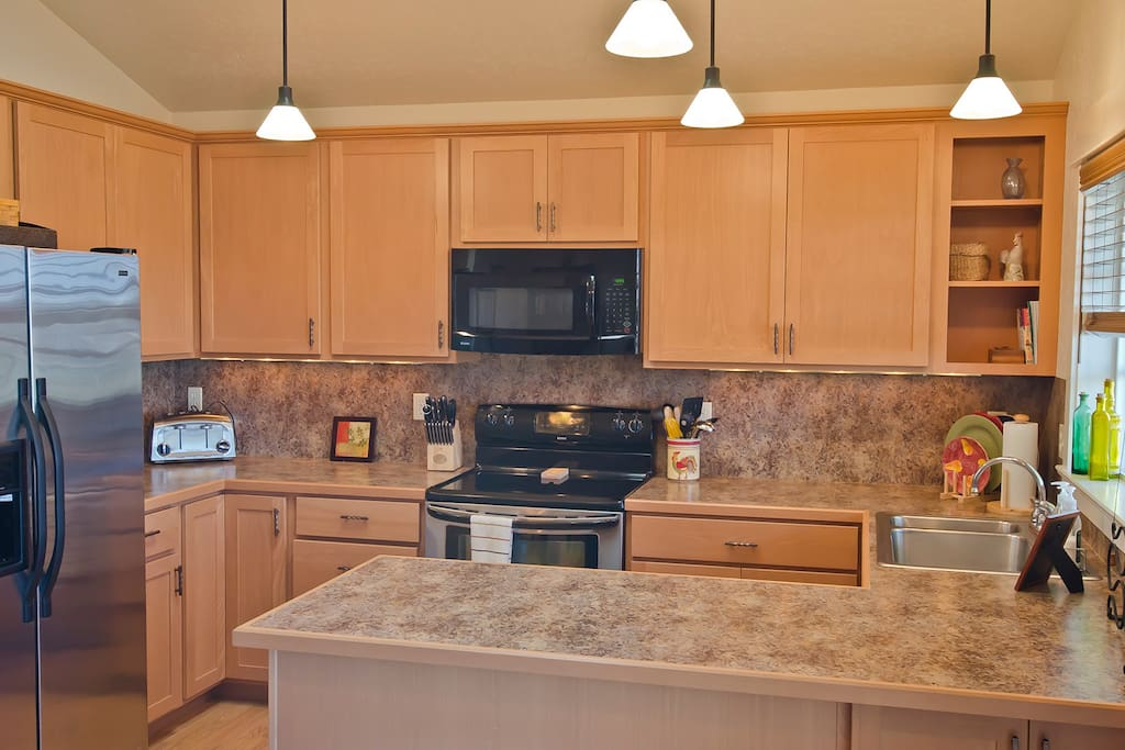 The fully appointed kitchen:  all appliances, cooking utensils, coffee maker, toaster, cutlery, plates, cups, silverware, etc.