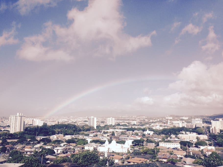 The rainbow and spectacular view from the house