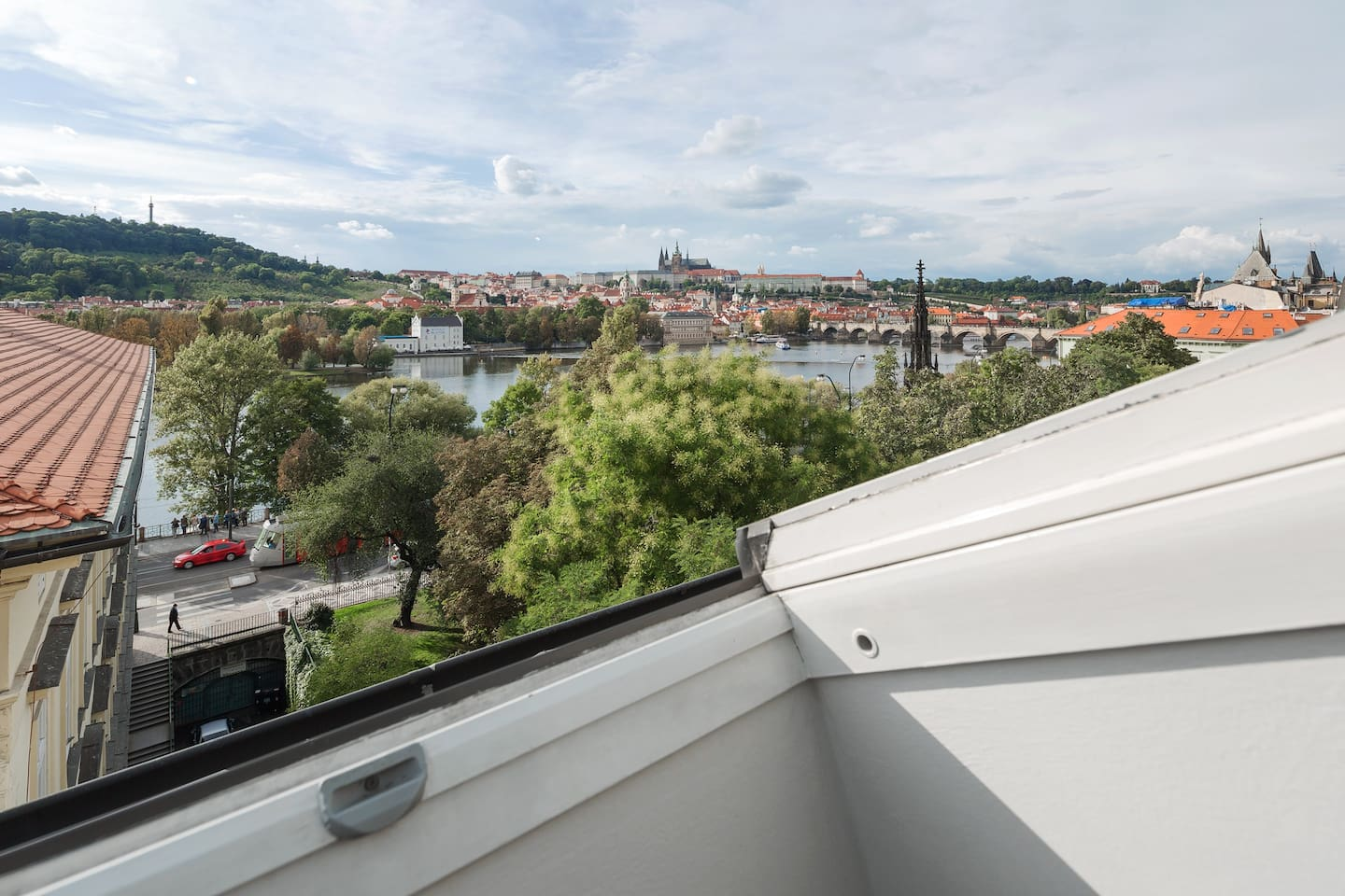 The view of Prague castle, Charles bridge, Kampa gallery, Petrin hill and basically entire Prague from the apartment...