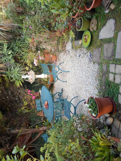 Patio with fishpond