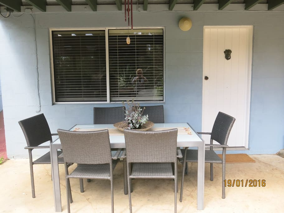 Outdoor private backyard for Airbnb guests and accommodation entry