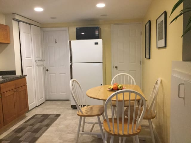 Spacious, eat in kitchen, lots of utensils; flat ware; Tea kettle and French Press coffee