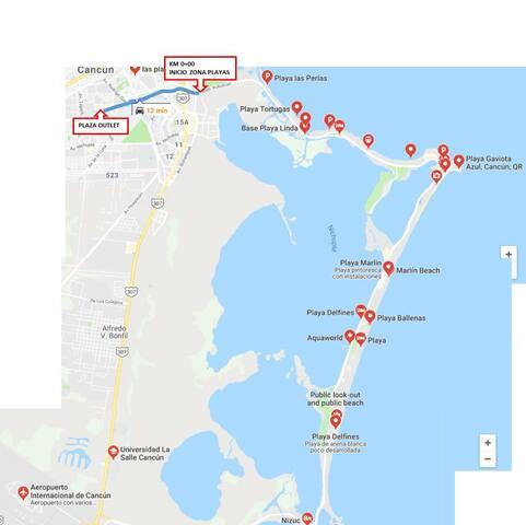 A 10 minutos de la zona hotelera donde se ubican las playas publicas