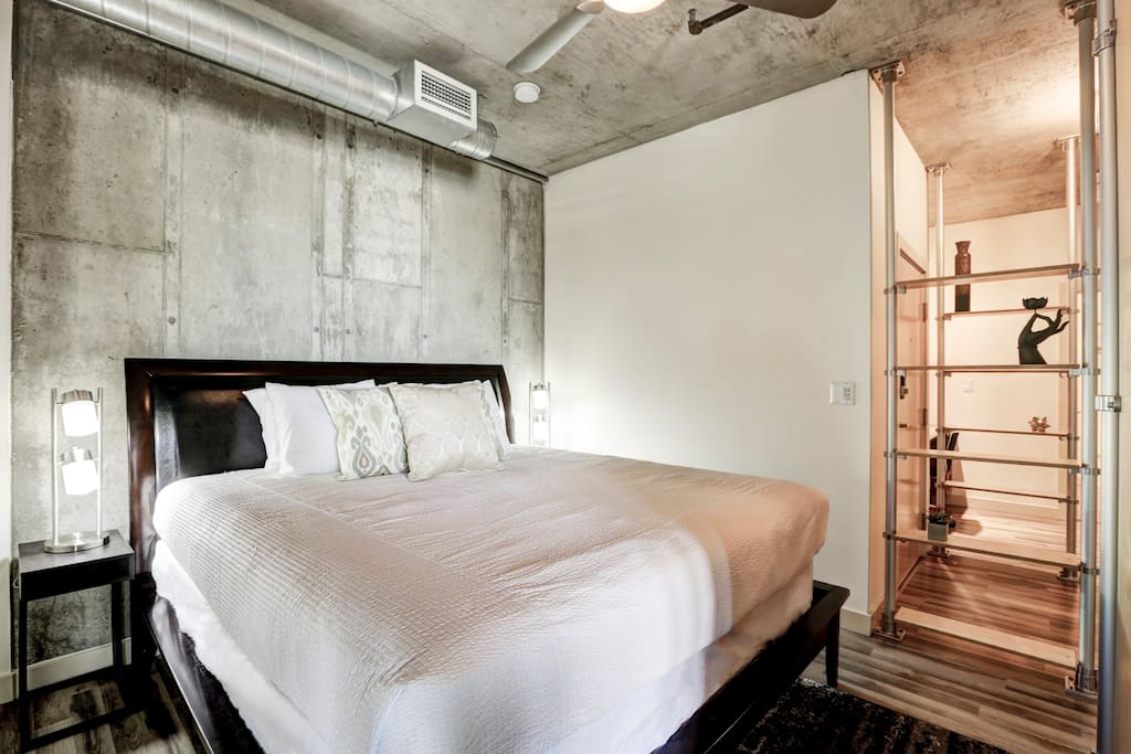 Loft bedroom at Premier Lofts by Stay Alfred