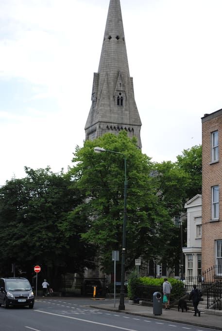 Upper Leeson St looking south  towards the Romanian Orthodox Church.  Northbrook Road is behind the Church to the right.