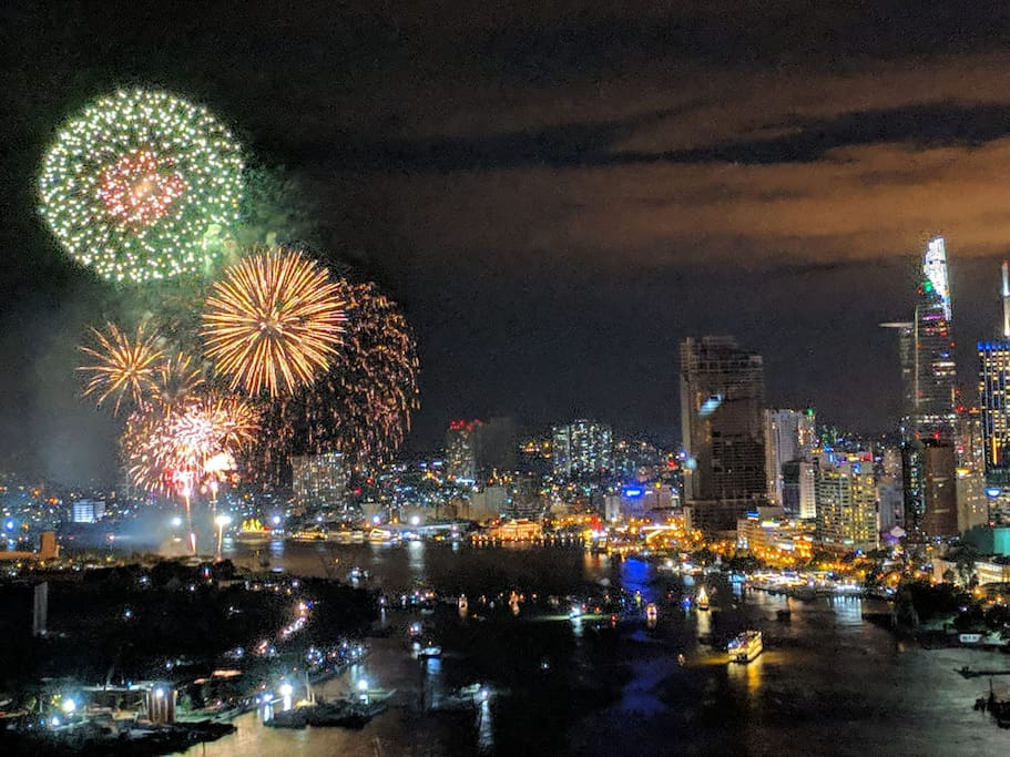 A capture of New Year's Eve night at our balcony by Patrick , one of our guest
