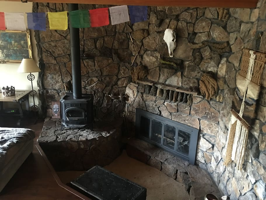 wood stove and fireplace nook