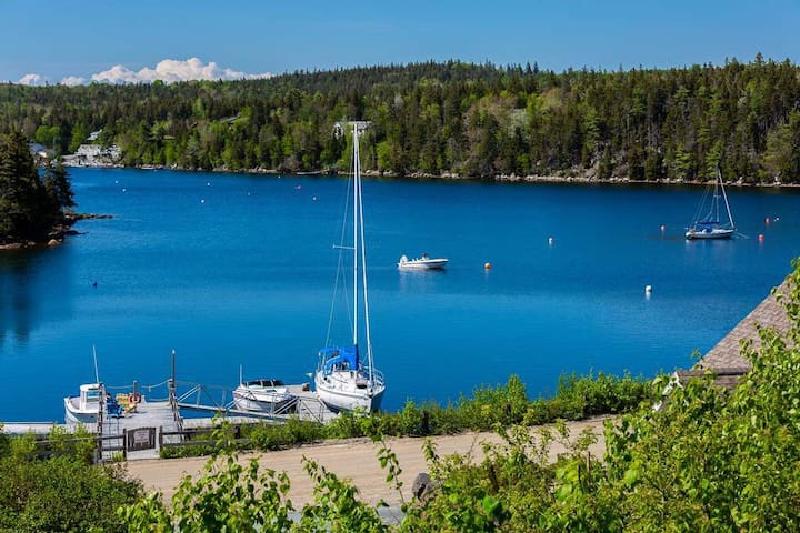 Ocean View of Deep Cove NS and Boat Moorage