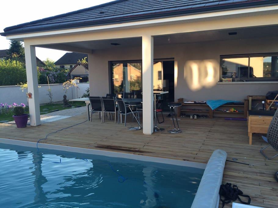 terrasse piscine chauffé
