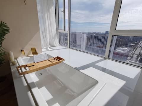 金山城市沙滩,阳台浴缸,ins风,智能家居,投影家庭影院ps4,可聚会。