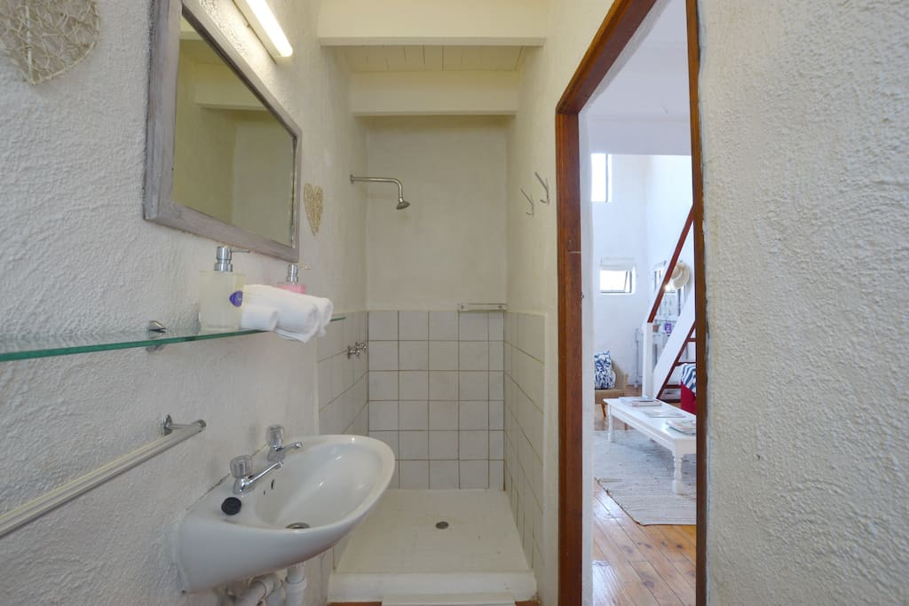 Bathroom with shower, wash basin and toilet