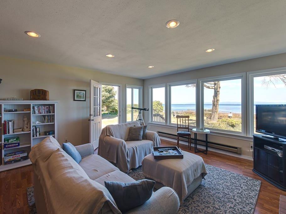Back door and living room
