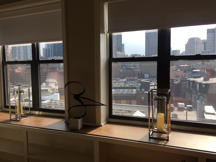 Living room windows w/city views