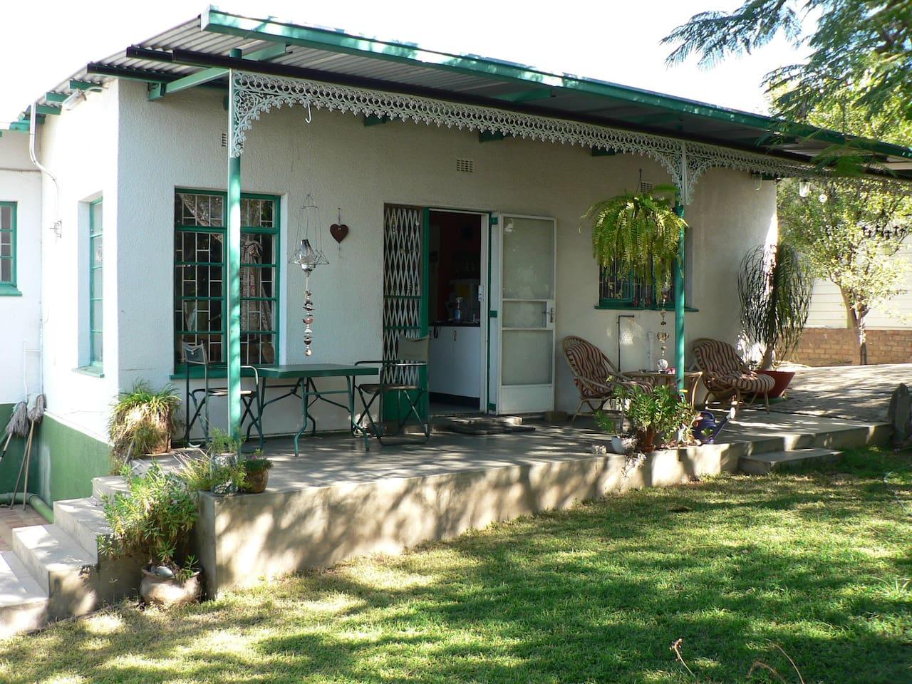 """The """"stoep"""" or verandah with garden"""