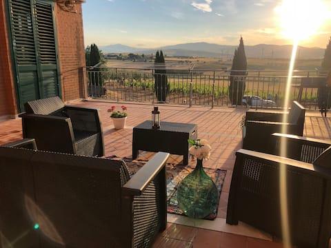 Vila na deželi s pogledom na vinograd