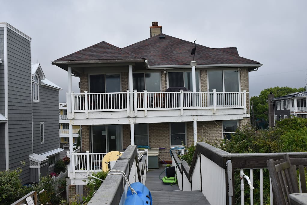 Oceanfront view with 3 level decks