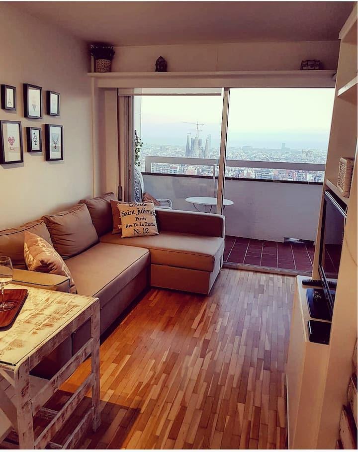Acogedor apartamento19 con vistas a toda Barcelona