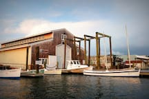 Visit the Wooden Boat Factory, right across the street from our Maritime Museum.  A one of a kind opportunity to see wooden boats under construction!
