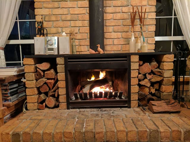 open fire with wood supplied.