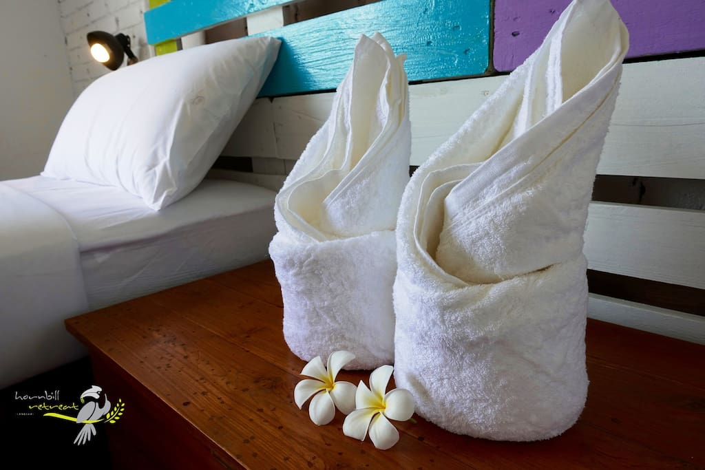 Room towels are thick, soft and absorbent.