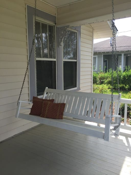 Swing on front porch