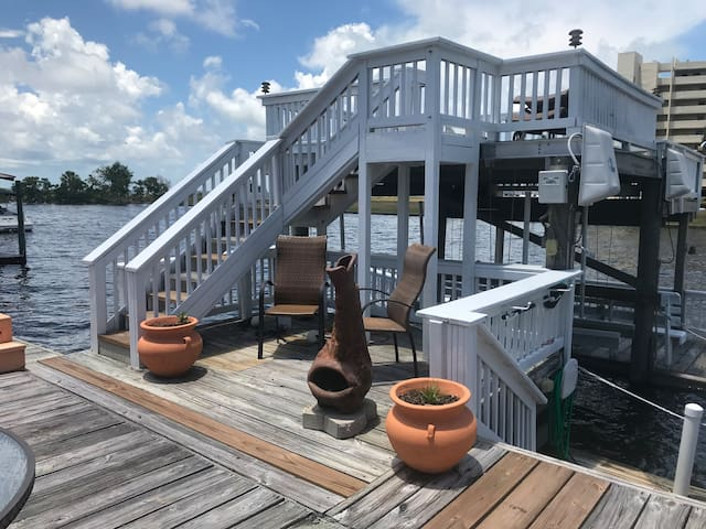Boat dock with sun deck