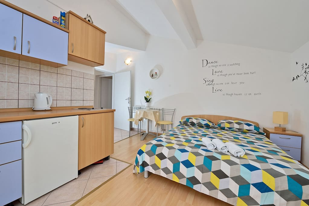 kitchen and bed