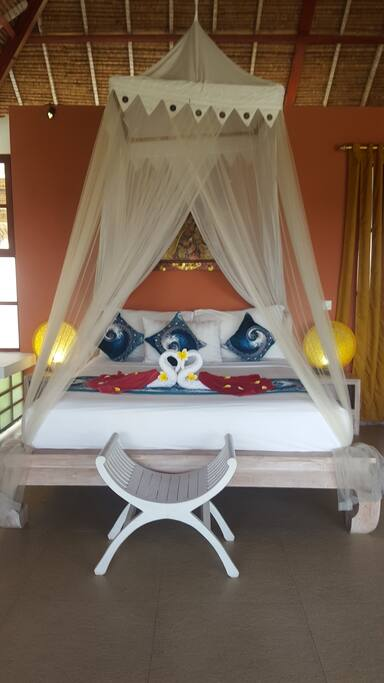 VIEW SUITE - our rooms 3 & 4 Bali Villa Marene 36m2, upstairs, 12m2 balcony, 6m2 ensuite shower bathroom beds are: king size + additional 70x180cm (ideal 2 children or a teenager/smaller adult)