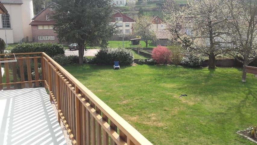 La vue sur la parc depuis le balcon de l'appartement.
