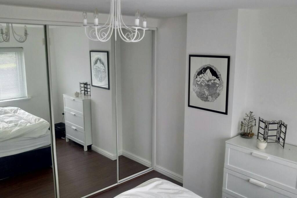 Super king bed / bedroom with blackout blinds
