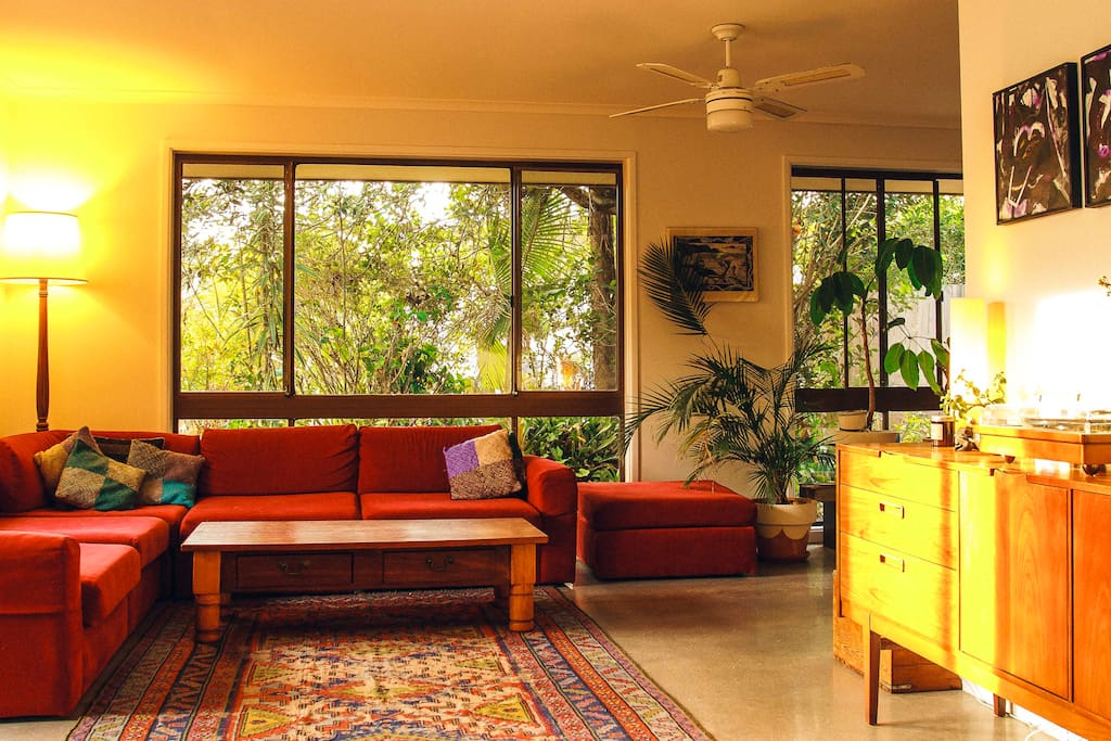 Large living room bathed in ample afternoon light