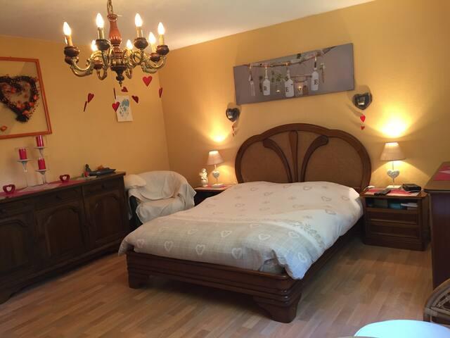 Belle chambre spacieuse au calme, sdb privée