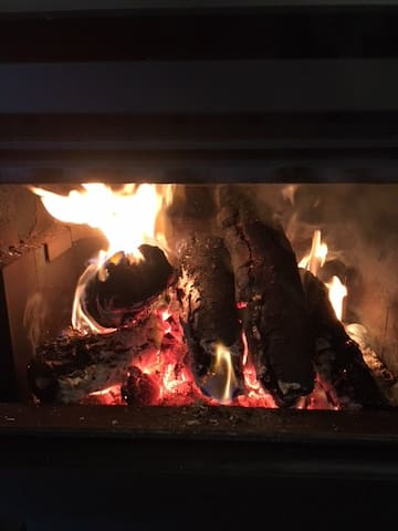 A wood fire - perfect for these colder nights in the Hinterland