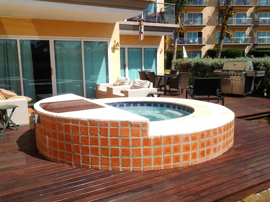 Large roman hot tub on your private decks in your garden!