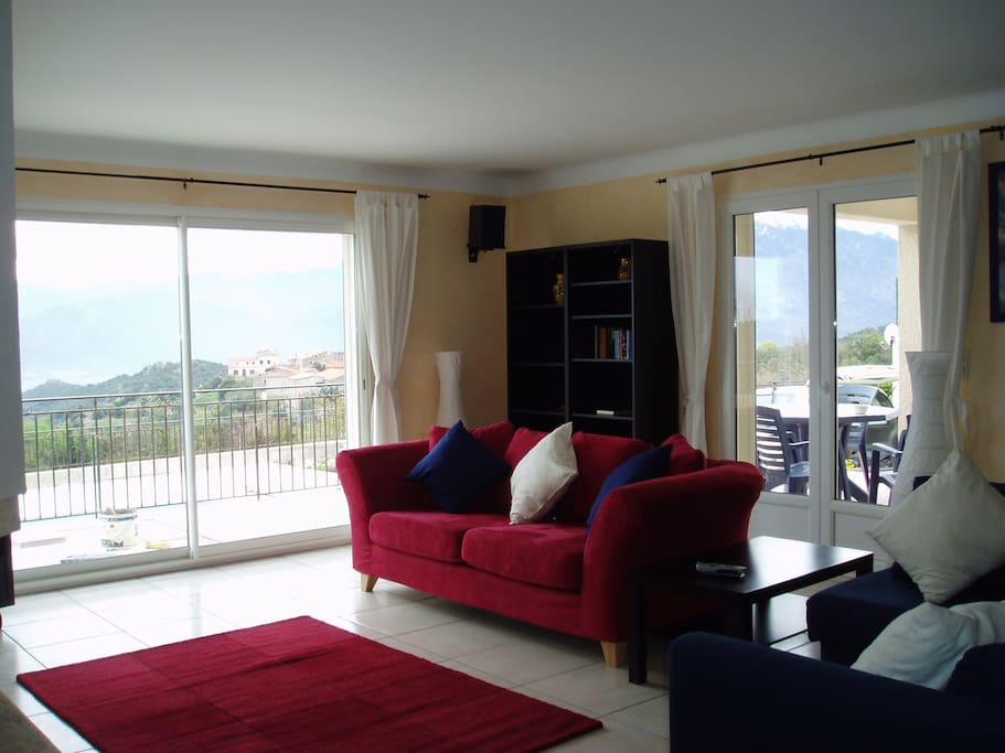 Lounge with amazing views of village and mountain