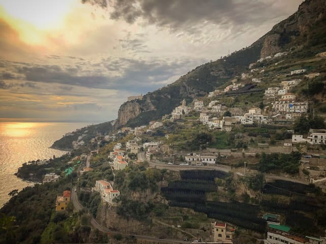 Sunset in Amalfi Coast this is the SPLENDID PANORAMA from the Balcony...  is waiting for you!