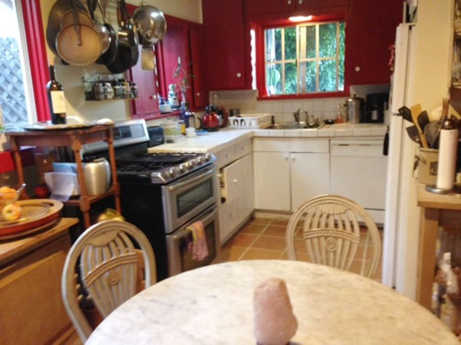 Kitchen stocked with cooking utensils, good coffee and tea, .