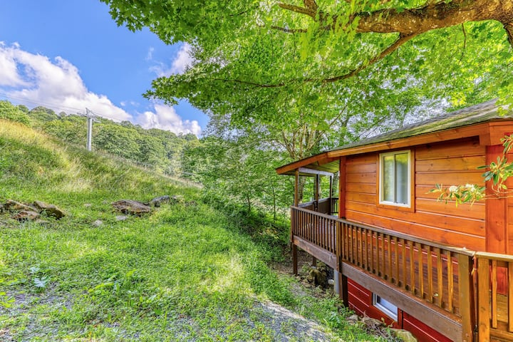 Renovated ski-in/ski-out roundhouse w/ a covered porch & a full kitchen
