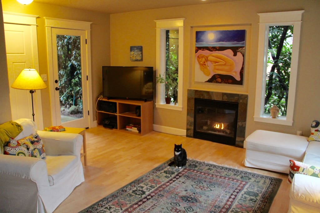 Fireplace, TV, door to small back area.