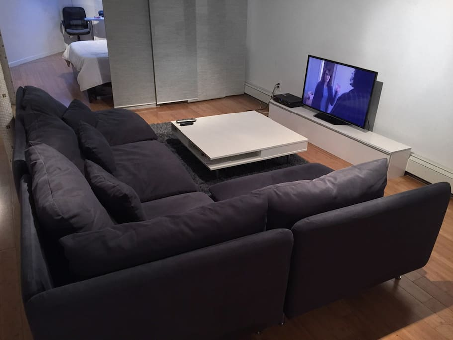 Large, comfy sectional couch with  table and television (Netflix, Hulu, Amazon Prime, Youtube, basic cable)