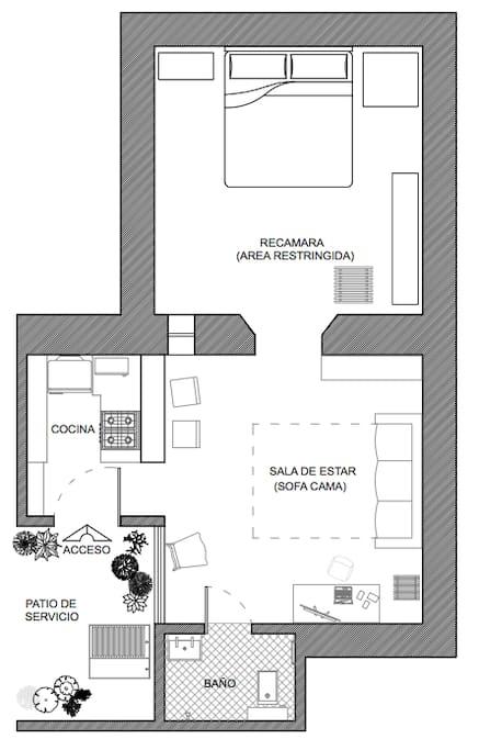 PLANTA ARQUITECTONICA: Distribución de los espacios, todas son areas comunes, a excepción de la recamara