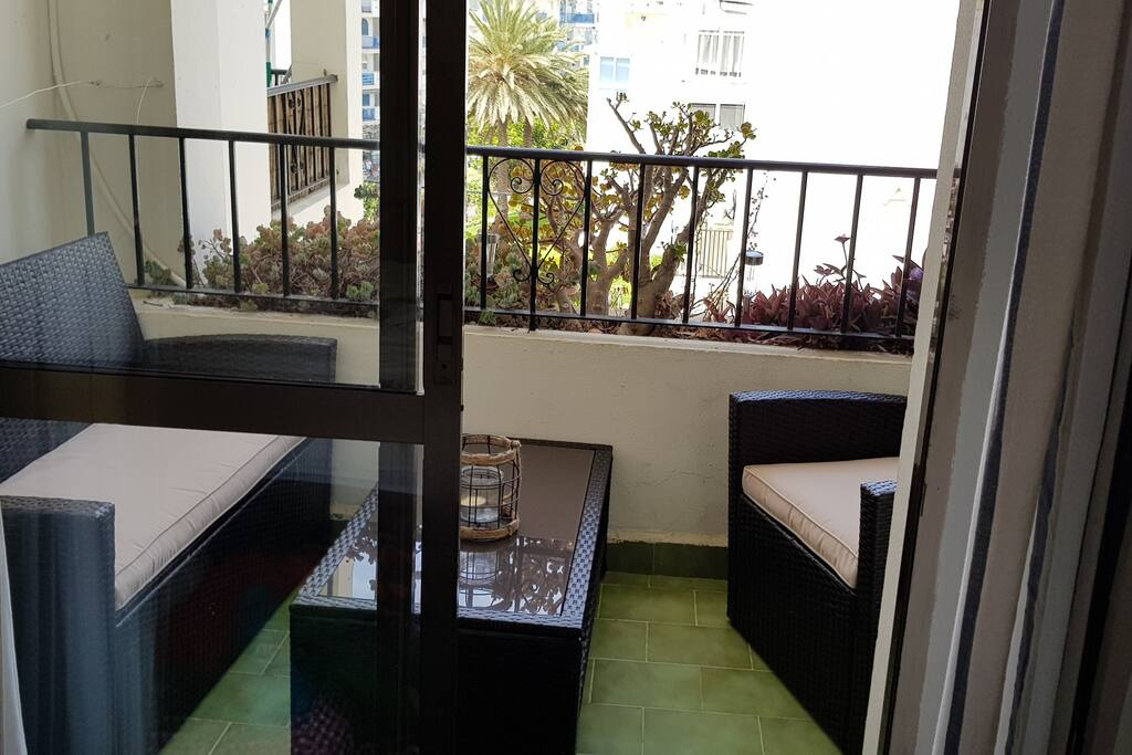 Balcony seen from the bedroom (perfect for breakfast or for an after beach drink)
