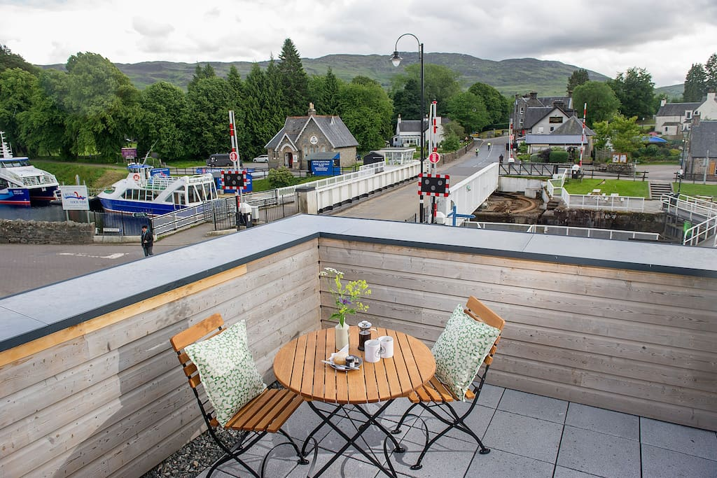 Outside terrace with views over Fort Augustus and the River Oich