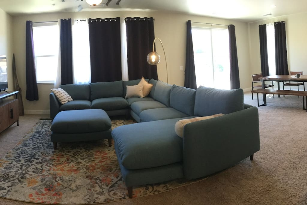 Open space living room with large sectional