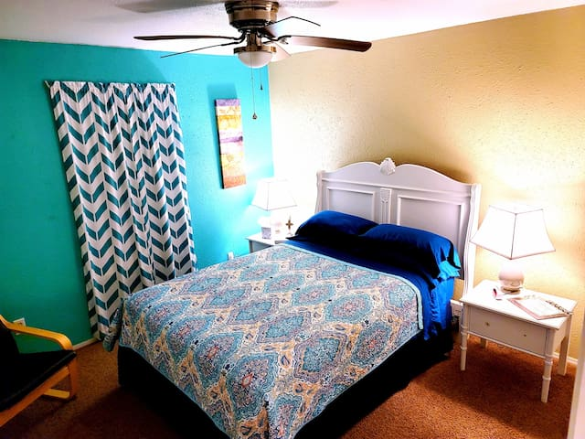 Nice size bedrooms centrally heated & cooled, double pillowtop queen size beds that are turned over with fresh clean linen between every stay.  Has extra quilts in each closet.  Very quiet and cozy.