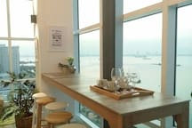 the sea facing bar for works and meals, wines and beers!