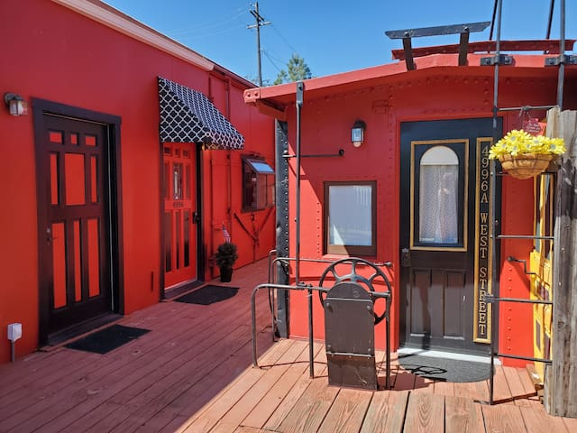 Front door to Caboose, with the front door to the Boxcar to the left in background
