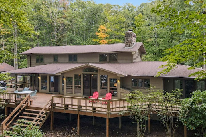 Lakefront Home w/Private Dock, Hot Tub, Pool Table, & Wood Fireplace!